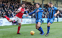 Fleetwood Town's Lewis Coyle competing with Gillingham's Billy Bingham as Gillingham's Barry Fuller looks on<br /> <br /> Photographer Andrew Kearns/CameraSport<br /> <br /> The EFL Sky Bet League One - Gillingham v Fleetwood Town - Saturday 3rd November 2018 - Priestfield Stadium - Gillingham<br /> <br /> World Copyright © 2018 CameraSport. All rights reserved. 43 Linden Ave. Countesthorpe. Leicester. England. LE8 5PG - Tel: +44 (0) 116 277 4147 - admin@camerasport.com - www.camerasport.com