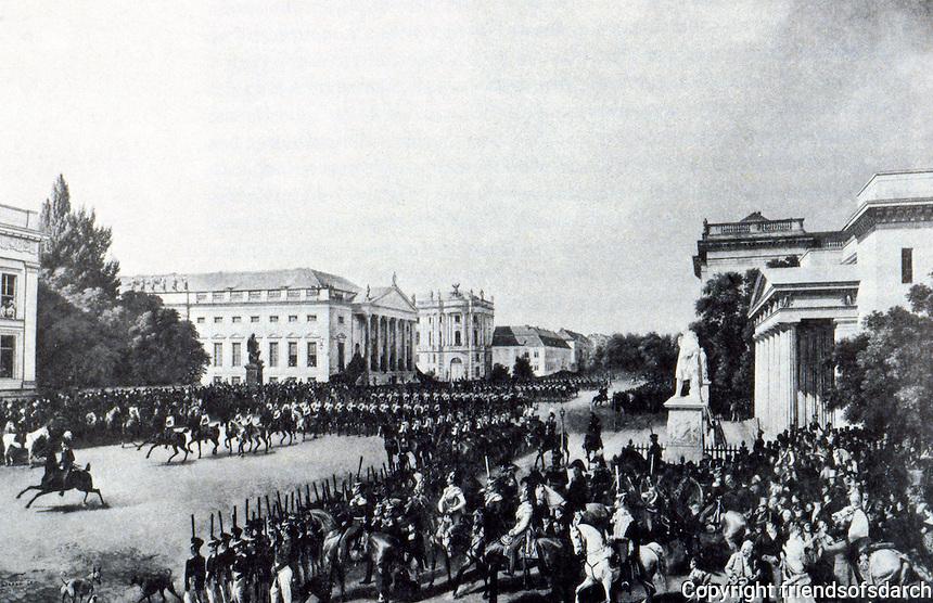 Berlin: Parade, Unter Den Linden, 1837. Painted by Franz Kruger, The Portraitist of Schinkel. SCHINKEL'S BERLIN. Reference only.
