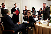 United States President Barack Obama receives a briefing before a bilateral meeting with Prime Minister David Cameron of the United Kingdom, at the Waldorf Astoria Hotel in New York, New York, September 21, 2011. From left are: Ben Rhodes, Deputy National Security Advisor for Strategic Communications; National Security Advisor Tom Donilon; Secretary of State Hillary Rodham Clinton; Liz Sherwood-Randall, Special Assistant to the President and NSC Senior Director for European Affairs; Susan Rice, U.S. Ambassador to the United Nations; Phil Gordon, Assistant Secretary of State for European and Eurasian Affairs; and Michael Froman, Deputy National Security Advisor of Economic Affairs. .Mandatory Credit: Pete Souza - White House via CNP