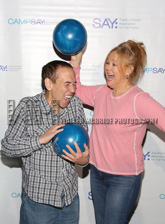 Gilbert Gottfried and Caroline Rhea attends the 5th Annual Paul Rudd All-Star Bowling Benefit for (SAY) at Lucky Strike Lanes on February 13, 2017 in New York City.