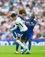 Chelsea's David Luiz and Tottenham's Dele Alli during the Premier League match between Tottenham Hotspur and Chelsea at Wembley Stadium, London, England on 20 August 2017. Photo by Andrew Aleksiejczuk / PRiME Media Images.