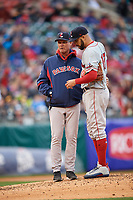 Boston Red Sox starting pitcher David Price (17) talks with pitching coach Bob Kipper while on a rehab assignment with the Pawtucket Red Sox during a game against the Buffalo Bisons on May 19, 2017 at Coca-Cola Field in Buffalo, New York.  Buffalo defeated Pawtucket 7-5 in thirteen innings.  (Mike Janes/Four Seam Images)