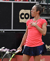 BOGOTA -COLOMBIA. 14-04-2017. Francesca Schiavone (ITA) reacciona durante juego de semifinal contra Johanna Larsson (SWE) del Claro Open Colsanitas WTA 2017 jugado en el Club Los Lagartos en Bogota. /  Francesca Schiavone (ITA) reacts during match against Johanna Larsson (SWE) for the semifinal of Claro Open Colsanitas WTA 2017 played at Club Los Lagartos in Bogota city. Photo: VizzorImage/ Gabriel Aponte / Staff