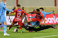 HARRISON, NJ - FEBRUARY 26: Patrick Alberto Pemberton Bernard #18 of AD San Carlos dives on a loose ball during a game between AD San Carlos and NYCFC at Red Bull on February 26, 2020 in Harrison, New Jersey.
