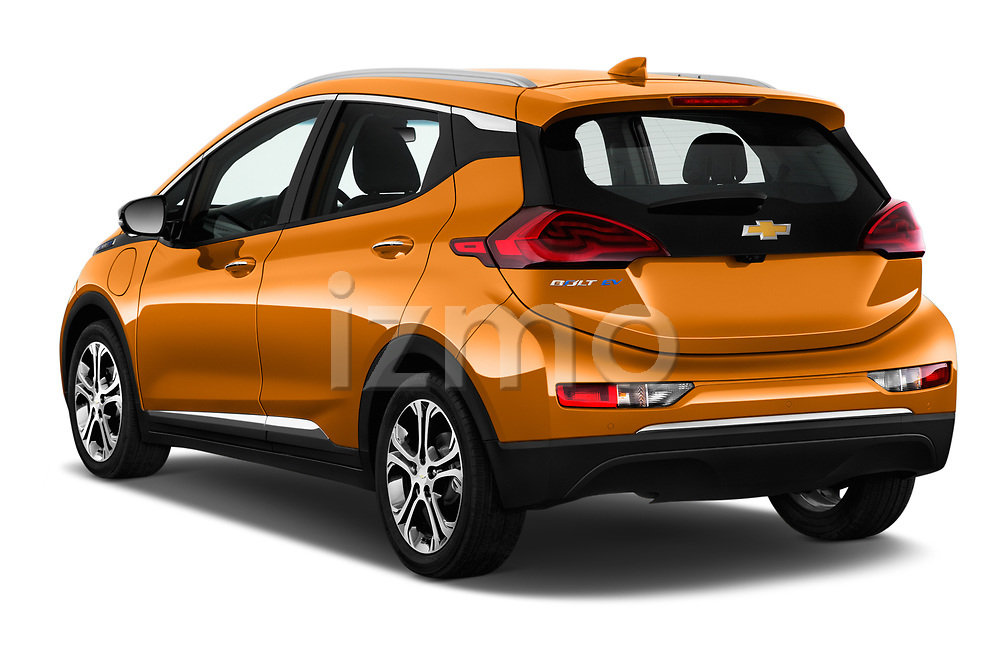 Car pictures of rear three quarter view of 2017 Chevrolet Bolt-EV Premier 5 Door Hatchback Angular Rear