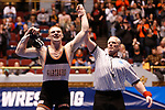 CLEVELAND, OH - MARCH 10: Kyle Fank, of Wartburg, celebrates his win in the 197 weight class during the Division III Men's Wrestling Championship held at the Cleveland Public Auditorium on March 10, 2018 in Cleveland, Ohio. (Photo by Jay LaPrete/NCAA Photos via Getty Images)