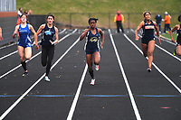 NOT FOR DAILY----HOLD FOR FEATURE---<br /> <br /> NWA Democrat-Gazette/J.T. WAMPLER Bentonville West's Grace Posey wins the 100 meter dash with a time of 12.09 Thursday April 26, 2018 at the 7A-West Conference track meet at War Eagle Stadium at Rogers Heritage High School.