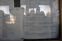 Roma 24 Febbraio 2012.I lavoratori della Rsi Italia SpA (Rail Service Italia, ex Wagons Lits), in Cassa Integrazione straordinaria da 6 mesi hanno occupato la fabbrica di via Umberto Partini a Roma. Sono 59 operai (33 metalmeccanici, 26 dei trasporti), addetti alla manutenzione dei Treni Notte..In bacheca il piano aziendale 2011--2012..Workers at the Rsi Italy SpA (Italy Rail Service, former Wagons Lits), extraordinary layoff from 6 months have occupied the factory in via Umberto Partini in Rome. We are 59 workers (33 metalworkers, 26 transport), Night Train maintenance workers. Rome, Italy 24th of February 2012