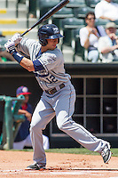 New Orleans Zephyrs third baseman Josh Rodriguez (12) at bat during the Pacific League game at the Chickasaw Bricktown Ballpark against the Oklahoma City RedHawks on April 13, 2014 in Oklahoma City, Oklahoma.  The RedHawks defeated the Zephyrs 4-3.  (William Purnell/Four Seam Images)
