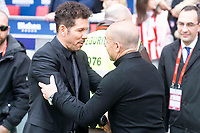 Atletico de Madrid coach Diego Simeone and Levante coach Paco Lopez during La Liga match between Atletico de Madrid at Wanda Metropolitano in Madrid, Spain. April 15, 2018. (ALTERPHOTOS/Borja B.Hojas) /NortePhoto.com NORTEPHOTOMEXICO