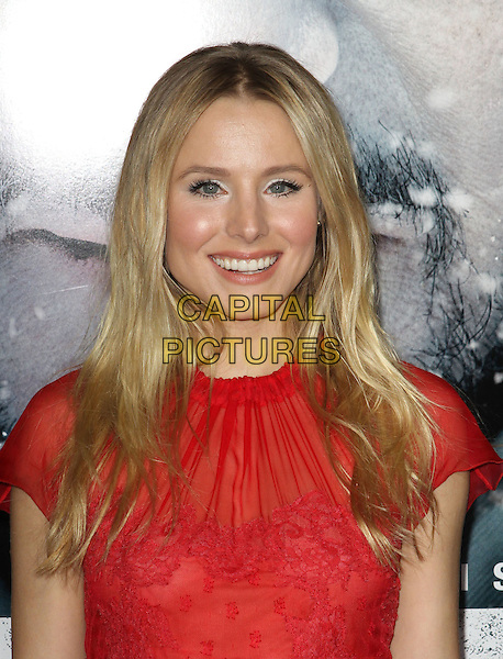 """Kristen Bell.The World Premiere Of """"The Grey"""" Held At The Regal cinemas, Los Angeles, California, USA..January 11th, 2012.headshot portrait red sheer top lace smiling  .CAP/ADM/KB.©Kevan Brooks/AdMedia/Capital Pictures."""