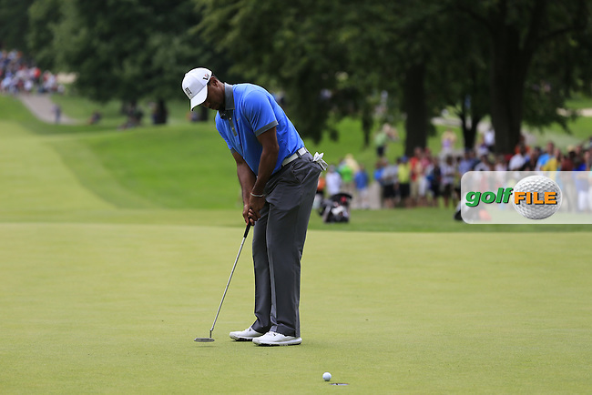 Tiger Woods (USA) putts on the 10th green during Friday's Round 1 of the 2013 Bridgestone Invitational WGC tournament held at the Firestone Country Club, Akron, Ohio. 2nd August 2013.<br /> Picture: Eoin Clarke www.golffile.ie