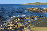 Rocky shoreline of the Gulf of St. Lawrence <br /> Pointe des Monts<br /> Quebec<br /> Canada