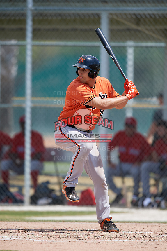 Baltimore Orioles Ryan Ripken (90) during a Minor League Spring Training game against the Boston Red Sox on March 20, 2018 at Buck O'Neil Complex in Sarasota, Florida.  (Mike Janes/Four Seam Images)