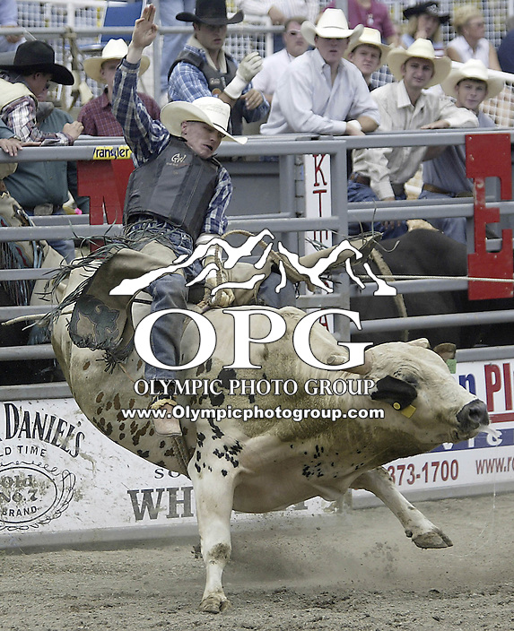 "29 August 2004: PRCA Rodeo Bull Rider Marcus Michaelis ranked 26th in the world riding ""Rough & ready"" during the PRCA 2004 Extreme Bulls competition in Bremerton, WA."