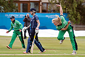 Scotland V Ireland - Women's Cricket International - Ireland pace bowler Kim Garth bowls past Scotland bat Becky Glen, at Forthill, Broughty Ferry - picture by Donald MacLeod - 01.08.2017 - 07702 319 738 - clanmacleod@btinternet.com - www.donald-macleod.com