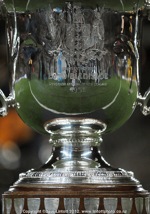 The Bledisloe Cup stands on a podium during the Rugby Championship international rugby Bledisloe Cup test match between All Blacks and Australia at Eden Park, Auckland, New Zealand on Saturday, 25 August 2012. Photo: Dave Lintott / lintottphoto.co.nz