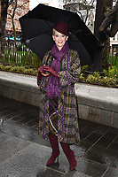 "Patricia Kelly unveils a statue of her husband, Gene Kelly at the launch of ""Scenes in the Square"" statue trail in Leicester Square, London.<br /> <br /> ©Ash Knotek  D3558 27/02/2020"