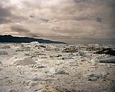 GREENLAND, Ilulissat, Ilulissat Icefjord, glacier on landscape