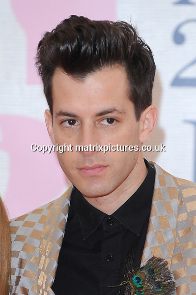 NON EXCLUSIVE PICTURE: PAUL TREADWAY / MATRIXPICTURES.CO.UK<br /> PLEASE CREDIT ALL USES<br /> <br /> WORLD RIGHTS<br /> <br /> English musician Mark Ronson attending the BRIT Awards 2015 at the O2 Arena, in London.<br /> <br /> FEBRUARY 25th 2015<br /> <br /> REF: PTY 15627