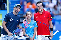 6th January 2020; RAC Arena, Perth, Western Australia; ATP Cup Australia, Perth, Day 4; Spain versus Uruguay; Franco Roncadelli of Uruguay and Roberto Bautista Agut of Spain pose for a photograph before their match - Editorial Use