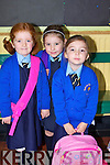 SCHOOL TIME: Emma Buckley, Molly Quane and Rosie Kennelly all ready for their first day of school at the Presentation Primary School, Tralee on Monday.   Copyright Kerry's Eye 2008