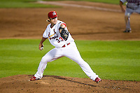 Michael Blazek (33) of the Springfield Cardinals delivers a pitch during a game against the Arkansas Travelers at Hammons Field on June 13, 2012 in Springfield, Missouri. (David Welker/Four Seam Images).