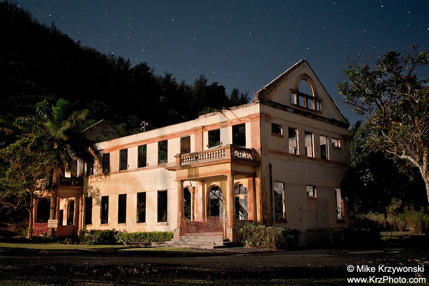 Ruins of the Waialele Industrial School For Boys at night on the North Shore, O'ahu