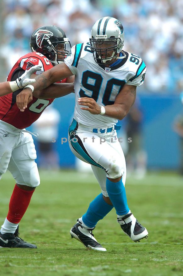 Julius Peppers, of the Carolina Panthers in action againt the Atlanta Falcons on September 10, 2006 in Charlotte, NC...Falcons win 20-6..David Durochik / SportPics