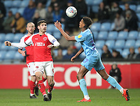 Fleetwood Town's Ched Evans in action with Coventry City's Morgan Williams <br /> <br /> Photographer Mick Walker/CameraSport<br /> <br /> The EFL Sky Bet League One - Coventry City v Fleetwood Town - Tuesday 12th March 2019 - Ricoh Arena - Coventry<br /> <br /> World Copyright &copy; 2019 CameraSport. All rights reserved. 43 Linden Ave. Countesthorpe. Leicester. England. LE8 5PG - Tel: +44 (0) 116 277 4147 - admin@camerasport.com - www.camerasport.com