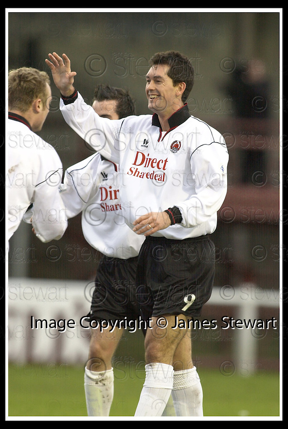 08/02/2003                   Copyright Pic : James Stewart.File Name : stewart-arbroath v clyde 05.WILLIE FALCONER CELEBRATES SCORING THE FIRST GOAL....James Stewart Photo Agency, 19 Carronlea Drive, Falkirk. FK2 8DN      Vat Reg No. 607 6932 25.Office     : +44 (0)1324 570906     .Mobile  : +44 (0)7721 416997.Fax         :  +44 (0)1324 570906.E-mail  :  jim@jspa.co.uk.If you require further information then contact Jim Stewart on any of the numbers above.........