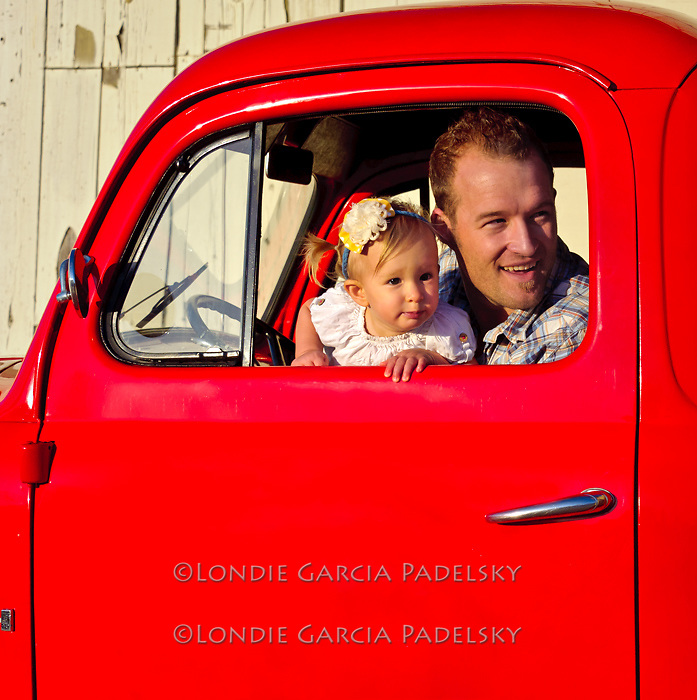 Father and Daughter in the old Ford truck, San Luis Obispo, California