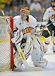 18 January 2008: University of Vermont Catamounts' goaltender Mike Spillane, a Sophomore from Bow, NH, in action against the Northeastern University Huskies at Gutterson Fieldhouse in Burlington, Vermont. The two teams battled to a 2-2 tie in the first game of their 2-game weekend series...Mandatory Photo Credit: Ed Wolfstein Photo