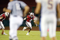 Stanley Wilson makes an interception during Stanford's 63-26 win over San Jose State on September 14, 2002 at Stanford Stadium.<br />Photo credit mandatory: Gonzalesphoto.com