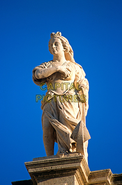 Statue on roof of Saint Blaise Church, Luza Square, Stradun, Dubrovnik, Dalmatian Coast, Croatia, Former Yugoslavia