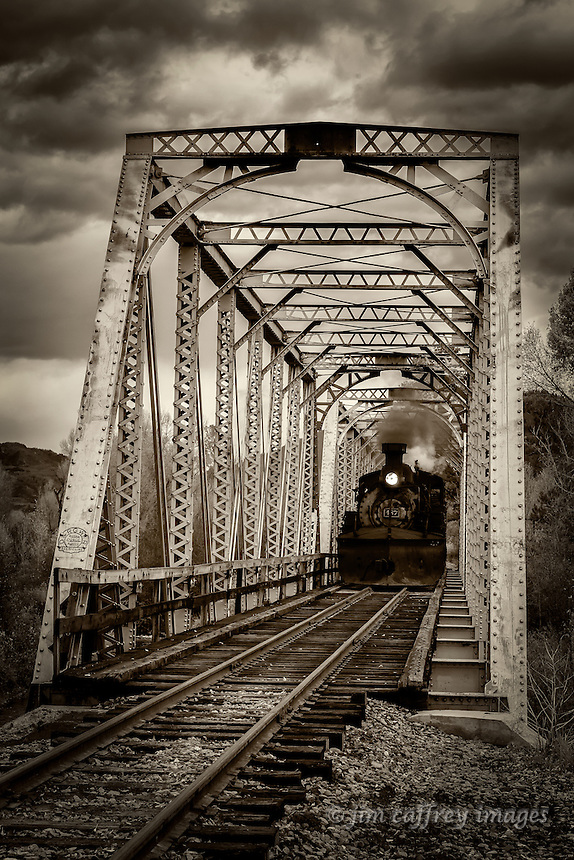 The Cumbres-Toltec crossing the trestle over the Chama River in Chama, New Mexico.