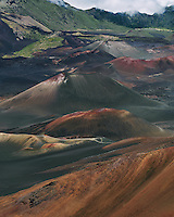 An endless array of volcanic cinder cones in the crater of HALEAKALA NATIONAL PARK on Maui in Hawaii give crdence to its reputation for awesome beauty
