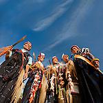 Men in traditional ceremonial dress, Luba Village, near Bajawa, Flores, East Nusa Tenggara, Indonesia