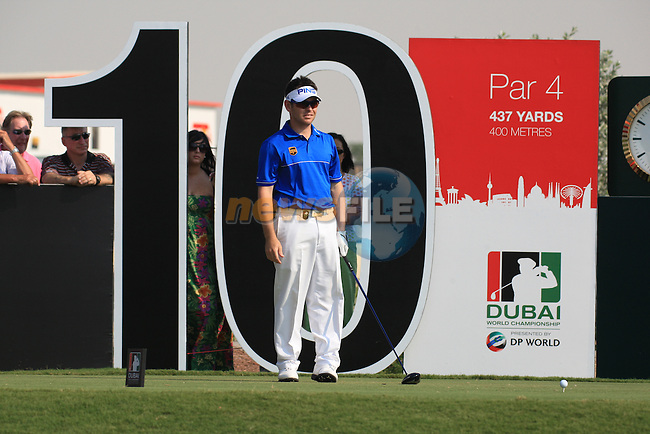 Louis Oosthuizen on the 10th tee during the final round of the Dubai World Championship on the Earth Course at the Jumeirah Golf Estate, Dubai..Picture Fran Caffrey/www.golffile.ie.
