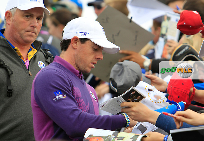 Rory McIlroy (EUR) during Practice on Wednesday at the 40th Ryder Cup, The Gleneagles Hotel, Perthshire from 26th to 28th September 2014<br /> Picture Thos Caffrey, www.golffile.ie