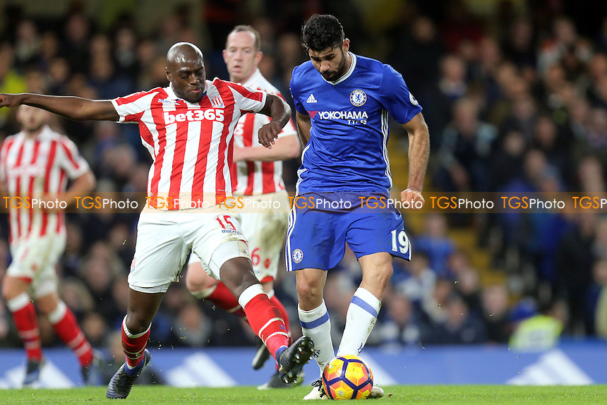 Diego Costa of Chelsea and Bruno Martins Indi of Stoke City during Chelsea vs Stoke City, Premier League Football at Stamford Bridge on 31st December 2016
