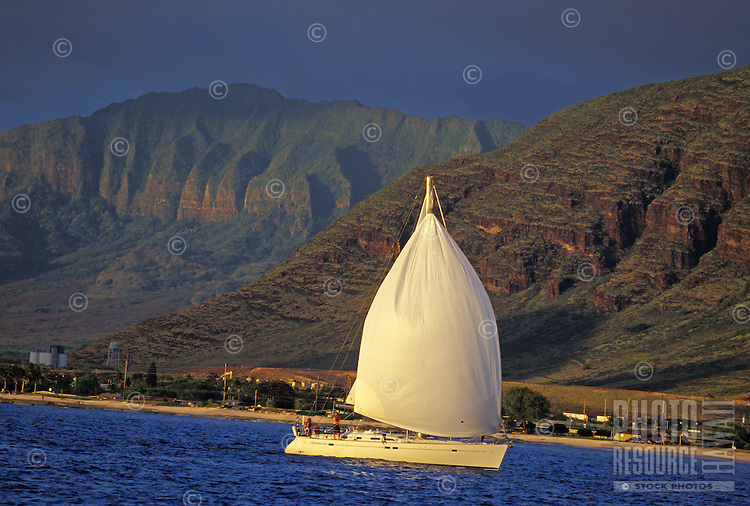 Group of sailors enjoying the waters off the Waianae mountains, West Side of Oahu