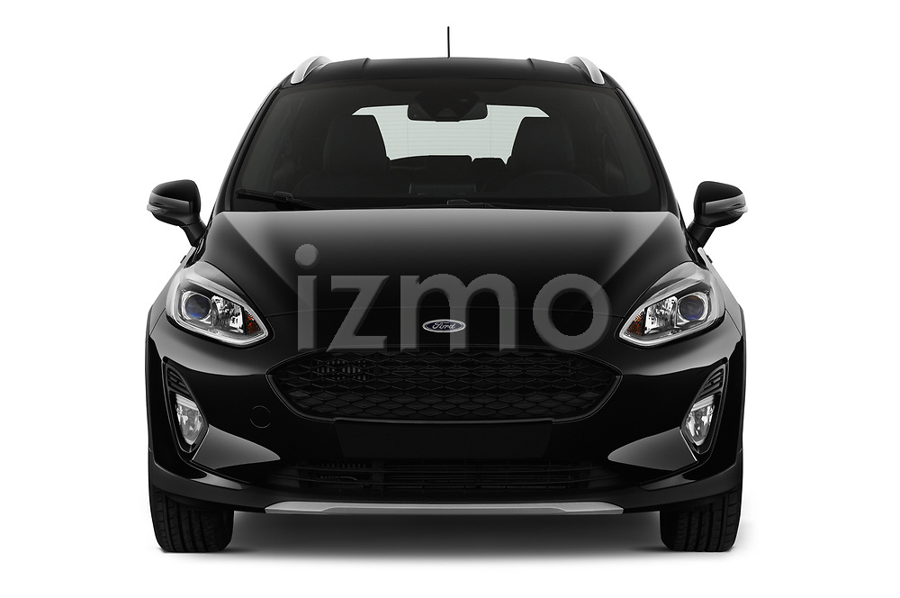 Car photography straight front view of a 2019 Ford Fiesta  Active-3 5 Door Hatchback