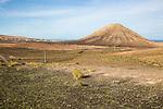 Sacred mountain volcanic cone volcano Montana de Tindaya, Fuerteventura, Canary Islands, Spain