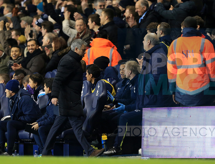 Chelsea's Jose Mourinho walks off down the tunnel before the end of the first half<br /> <br /> Barclays Premier League - Tottenham Hotspur vs Chelsea - White Hart Lane  - England - 1st January 2015 - Picture David Klein/Sportimage