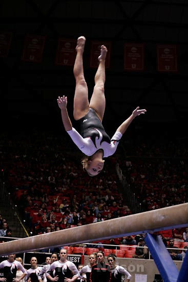 Trent Nelson  |  The Salt Lake Tribune.Salt Lake City - Utah vs. BYU college gymnastics Friday, March 26, 2010. Utah's Jamie Deetscreek on the beam