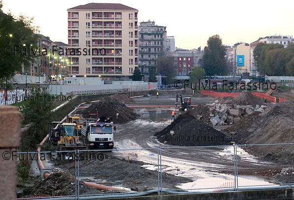 Milano 2 dicembre 2013, lavori in corso sulla Darsena