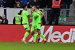 01.12.2018, wirsol Rhein-Neckar-Arena, Sinsheim, GER, 1 FBL, TSG 1899 Hoffenheim vs FC Schalke 04, <br /> <br /> DFL REGULATIONS PROHIBIT ANY USE OF PHOTOGRAPHS AS IMAGE SEQUENCES AND/OR QUASI-VIDEO.<br /> <br /> im Bild: Nabil Bentaleb (FC Schalke 04 #10) jubelt mit Alessandro Sch&ouml;pf / Schoepf (FC Schalke 04 #28) und Weston McKennie (FC Schalke 04 #2) ueber sein Tor zum 1:1<br /> <br /> Foto &copy; nordphoto / Fabisch