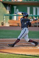 Cesar Garcia (8) of the Missoula Osprey at bat against the Ogden Raptors at Lindquist Field on August 12, 2019 in Ogden, Utah. The Raptors defeated the Osprey 4-3. (Stephen Smith/Four Seam Images)