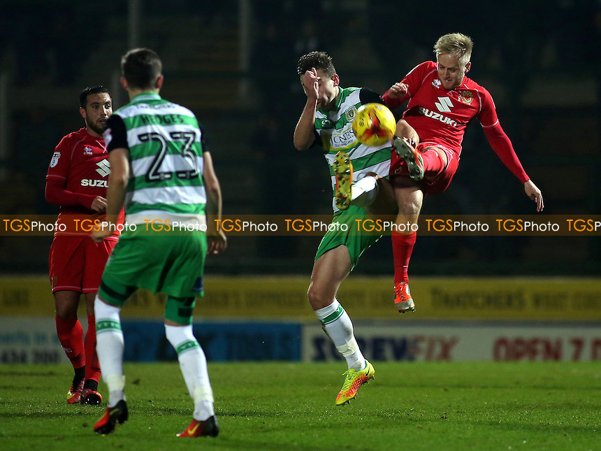 Ben Reeves of MK Dons challenges for the ball during Yeovil Town vs MK Dons, Checkatrade Trophy Football at Huish Park on 6th December 2016